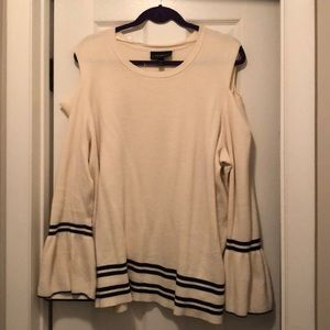 Lane Bryant Cold Shoulder Off White Sweater